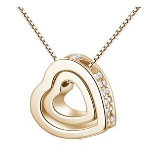 Jewelry - Double Heart Pendant Necklace- Gold